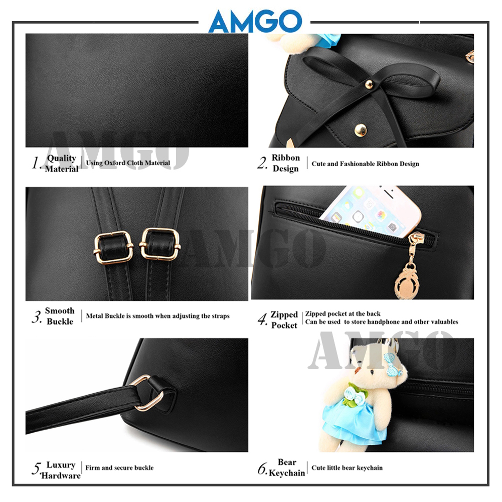 AMGO [White] Korean Style Bear Ribbon 3 Ways Quilted PU leather Bag