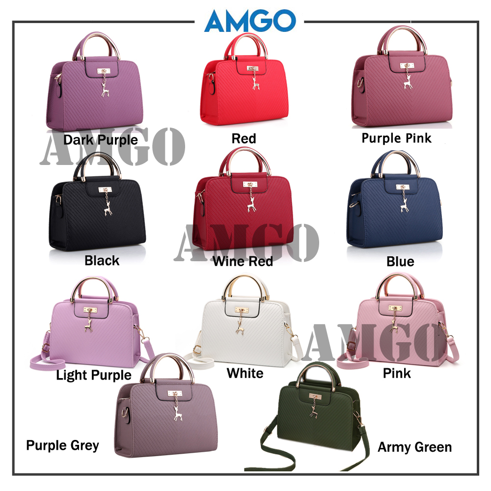 AMGO [Wine Red] Top Handle Cross Sling Women Bag With Deer Charm