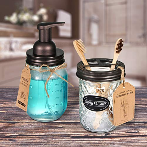 Mason Jar Toothbrush Holder Rustproof Holds 2 Toothbrushes and Toothpaste-Black