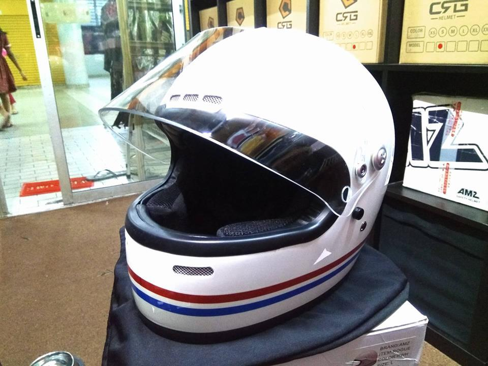 AMZ Rogue Full Face Motor Retro Classic Cafe Racer Helmet