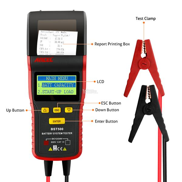 Ancel 12V / 24V Automotive Load Battery Tester with Print Data