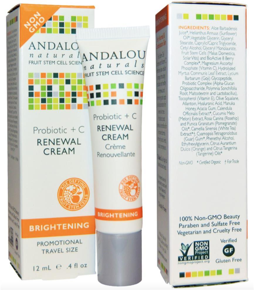 Andalou, Renewal Cream, Probiotic + C, Skin Brightening (USA)
