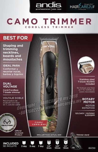 Andis Slimline 2 Professional Cordless Hair Trimmer (Camo Edition)