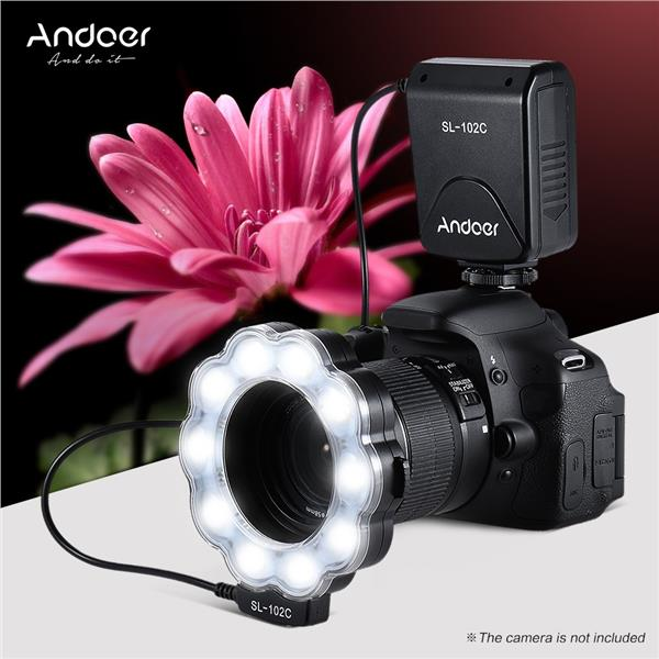 Andoer SL-102C GN15 Macro LED Ring Round Flash Fill-in Light Lamp Brightness Adjustable LCD Display for Canon Nikon Pentax Olympus DLSR Camera