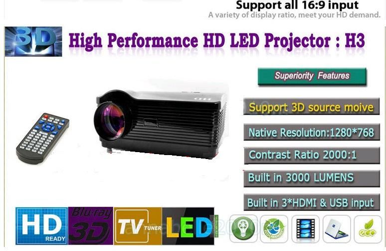 Android 4.1 HD Projector - 3000 Lumens, 2000:1, 1.5GHz Dua