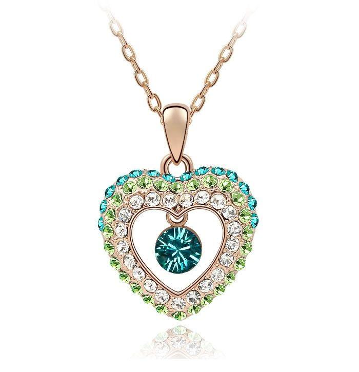 Angel's Love Pendant Necklace in Pink Gold - Ocean Green