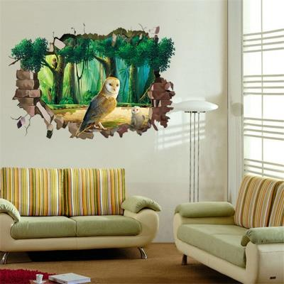 Animal Cartoon Owl DIY Vinyl Wall Stickers For Kids Rooms 3D Wallpaper. ‹ ›