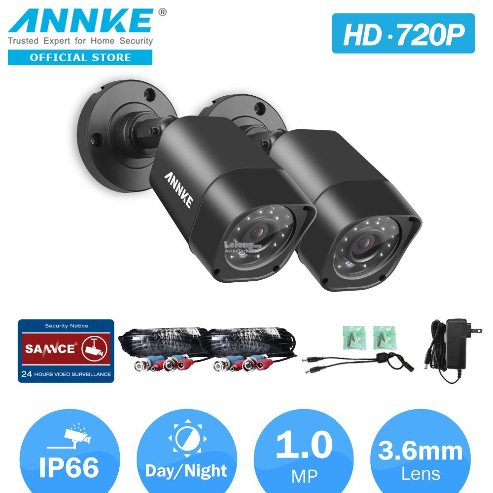 ANNKE 1MP  3.6mm 720P 2 Bullet IR-CUT IP66 Three-Axis Bracket Cameras