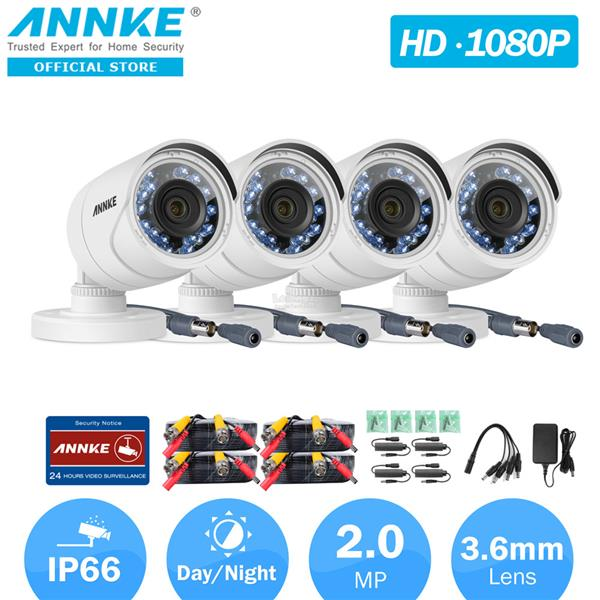 ANNKE 2MP 1080P 4 Bullet CMOS Sensor IR-Cut Filter Weatherproof Camera