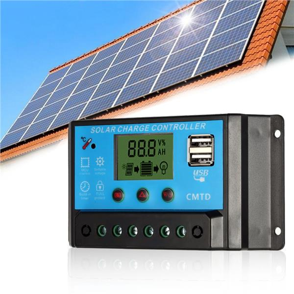 Anself 10A 12.6V LCD Solar Charge Controller PWM Charging Regulator
