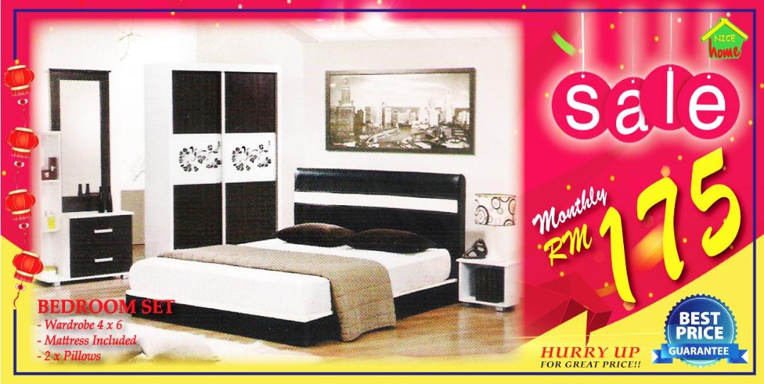 ansuran murah bedroom set +mattress free 2x pillow -RM175