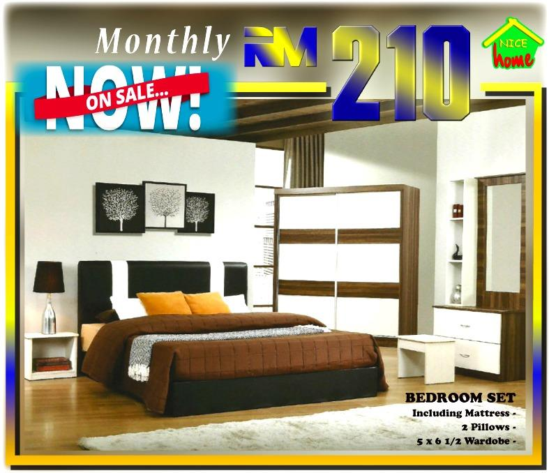 ansuran murah bedroom set + mattress free 2x pillow RM210