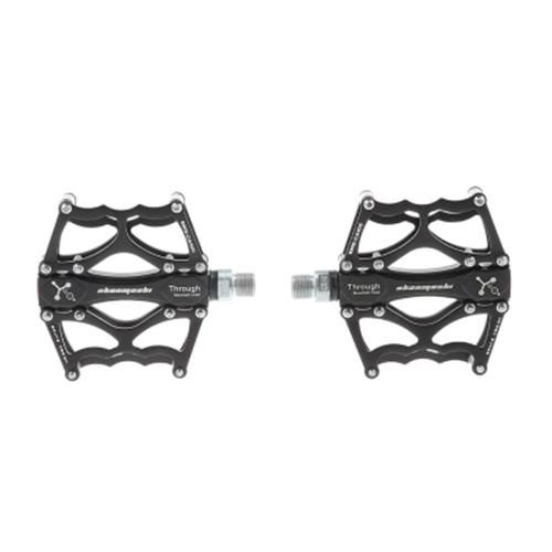ANTI-SLIP ALUMINUM ALLOY BICYCLE PEDALS MOUNTAIN BIKE FOOT REST (BLACK)
