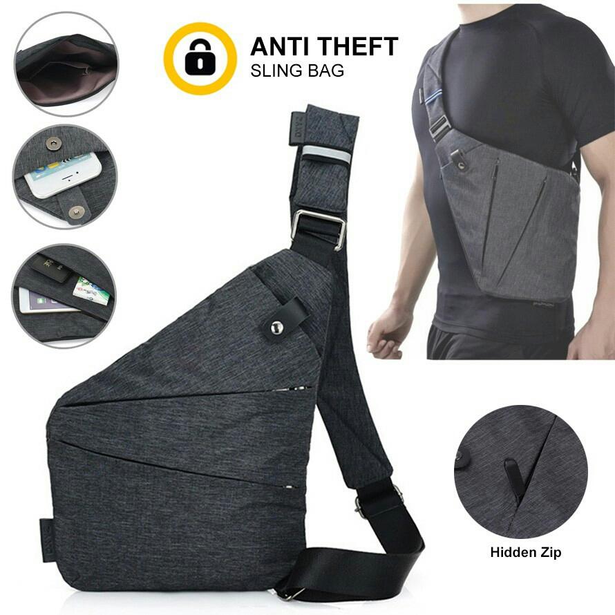 dd57bff53abc Anti Theft Ultra Slim Sling Chest Shoulder Crossbody beg bags