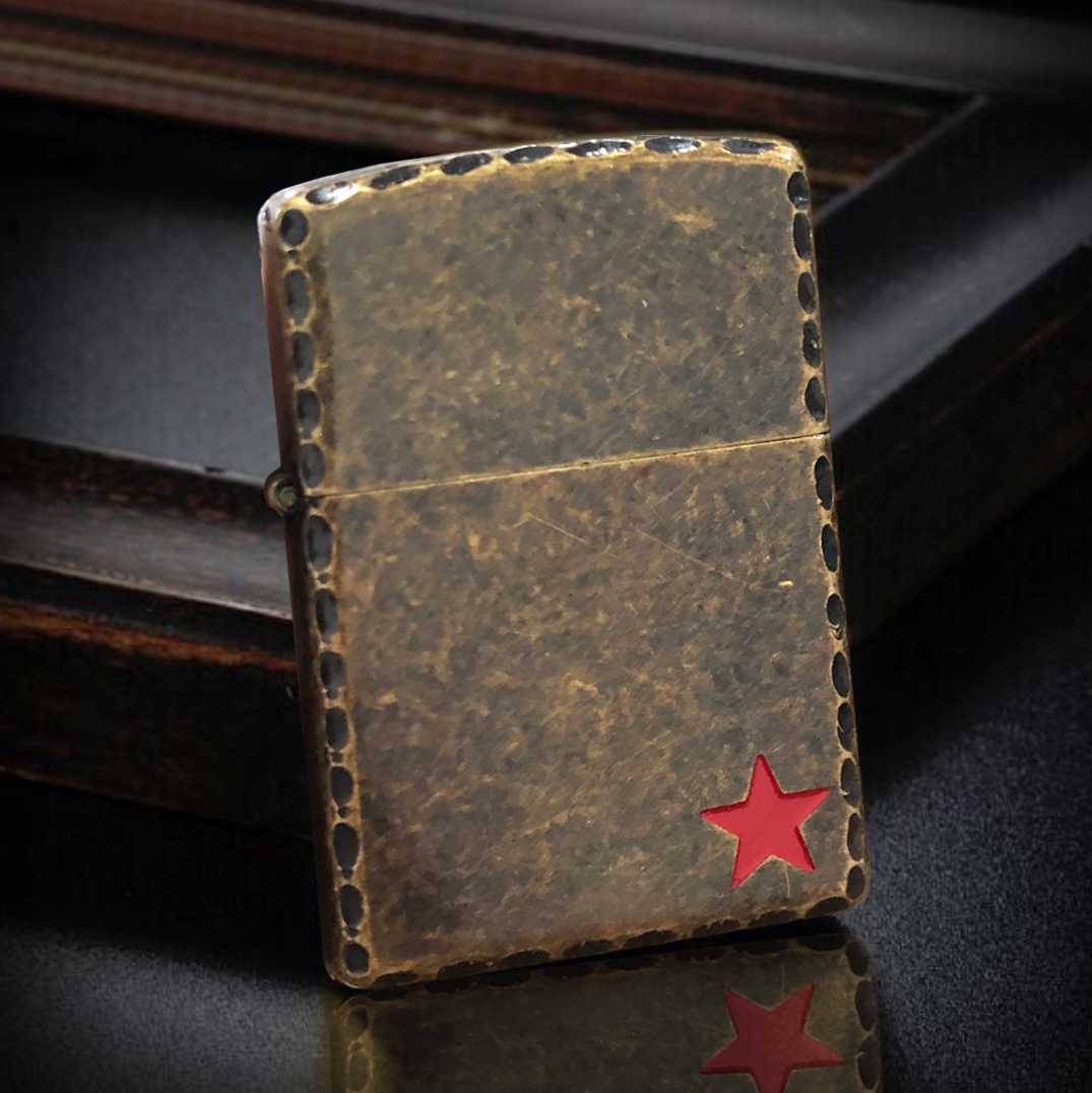 Antique Brass Army Star Zippo Lighter