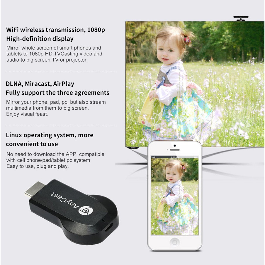 AnyCast M4 Plus M4+ Wireless Display Dongle WiFi Miracast Airplay Mirroring  DL
