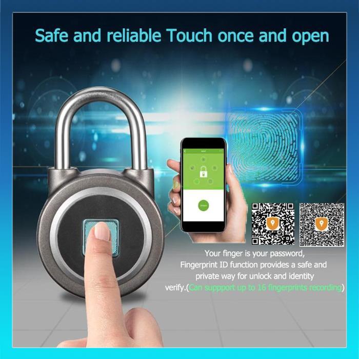 fd223cb21104 Anytek P2 Keyless Fingerprint Smart Lock Bluetooth Phone App Padlock