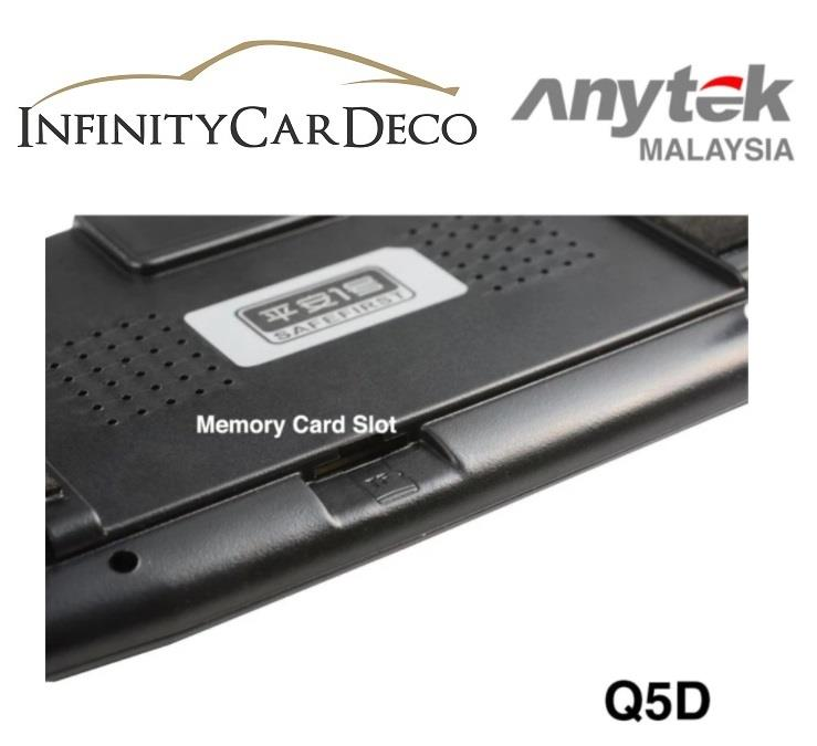 ANYTEK Q5D Dual Lens Rearview Mirror 170 Degree Wide Angle Dash Cam