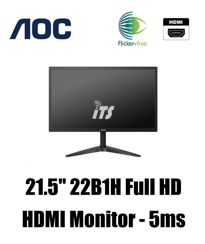 AOC 21 5' 22B1H FHD Monitor - (5ms/Ultra Slim/Flicker Free/HDMI)