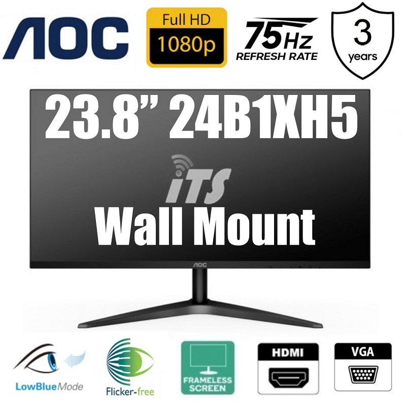 "AOC 23.8"" 24B1XH5 75Hz IPS LED Monitor - Wall Mount Support"