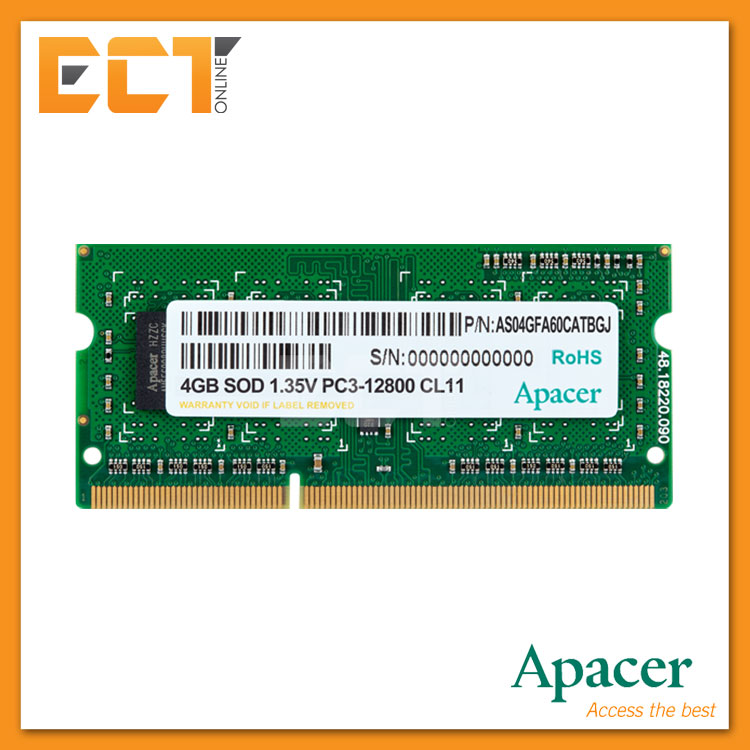 Apacer 4GB DDR3 1600MHZ (PC3-12800) Low Voltage Laptop Memory RAM