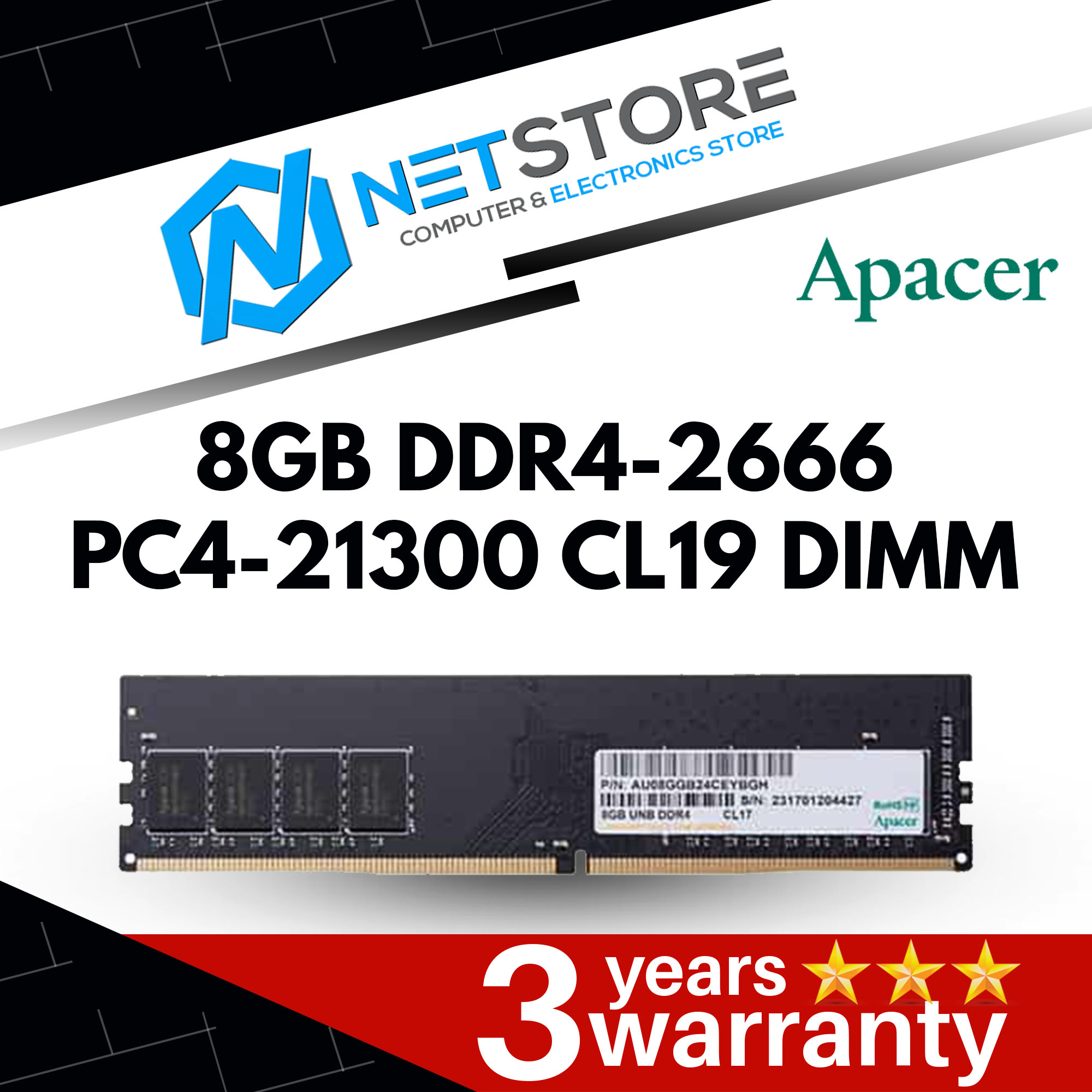 APACER 8GB DDR4-2666 PC4-21300 CL19 DIMM Desktop RAM Memory
