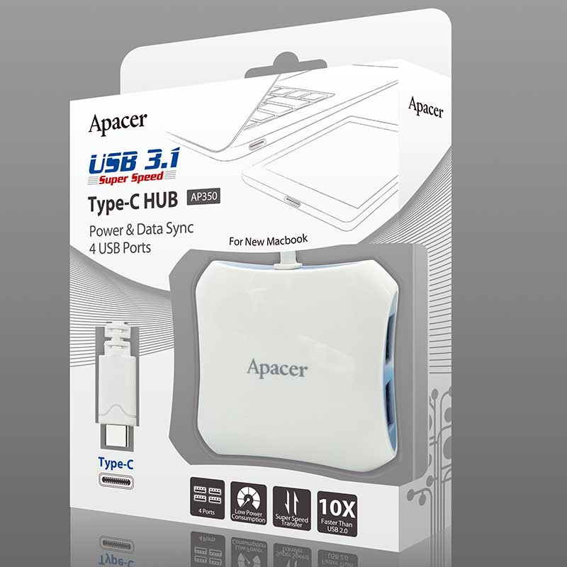 Apacer USB 3.1 Super Speed Type-C 4 USB Port HUB Power Data Sync AP350