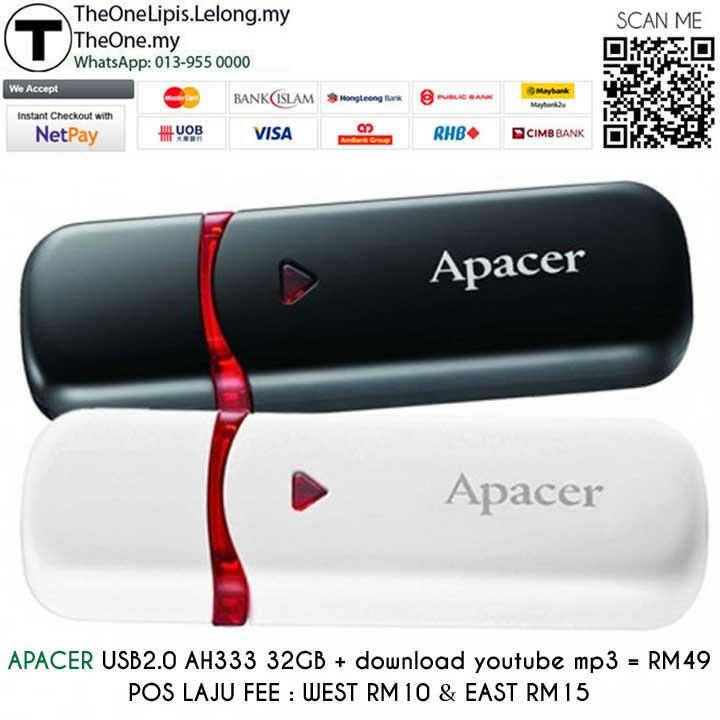 APACER USB2.0 AH333 32GB + Download youtube mp3 = RM49