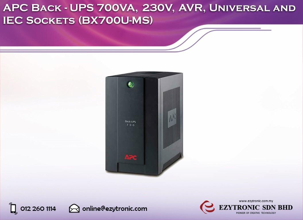 APC Back-UPS 700VA, 230V, AVR, Universal and IEC Sockets (BX700U. ‹ ›