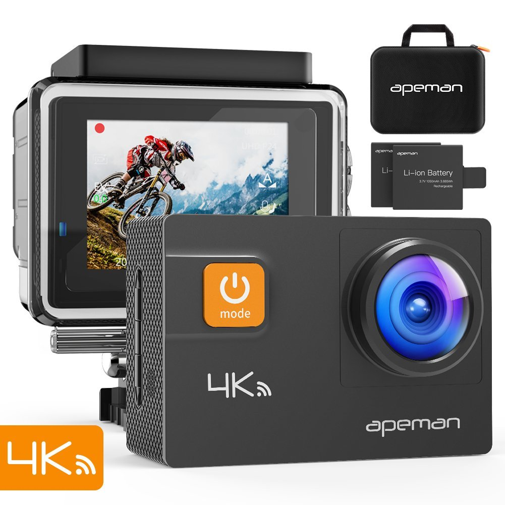 Apeman A80 Pro 4k Action Camera WiFi Waterproof 40m Dual Image Stabili
