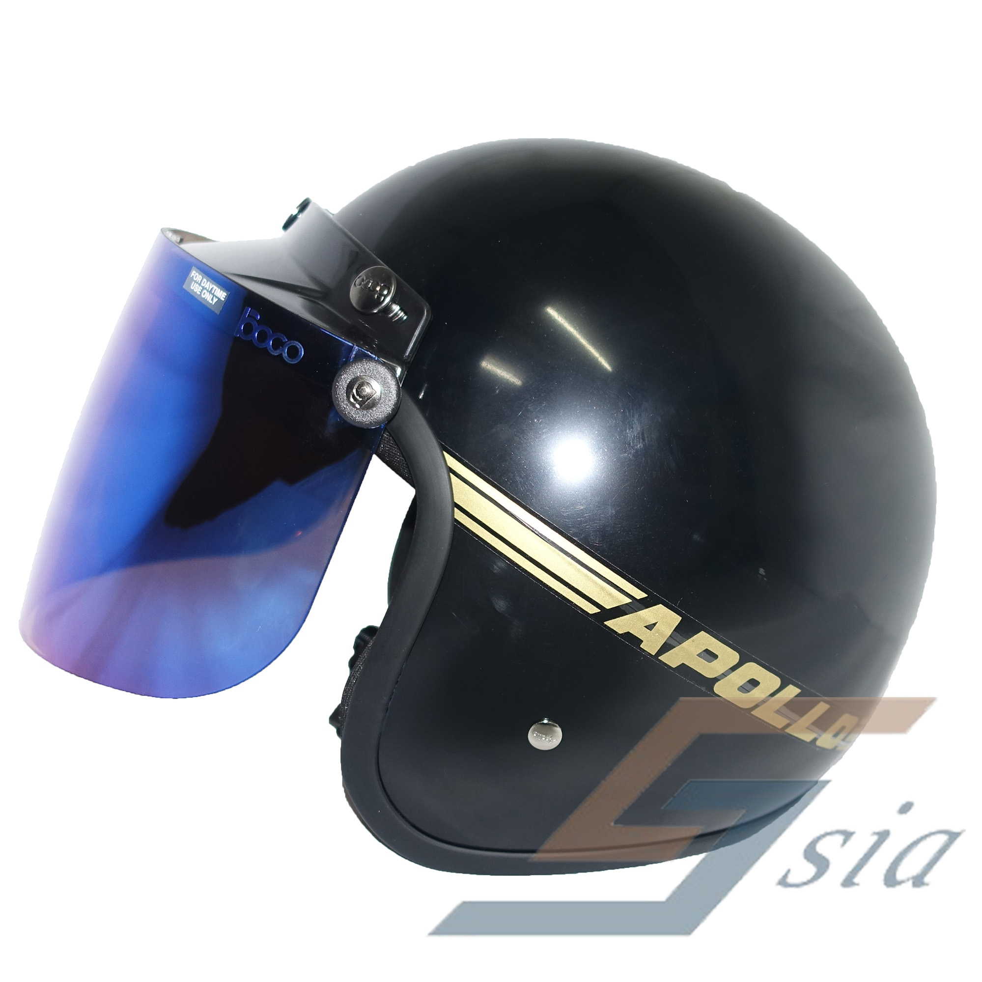 Apollo GS Helmet (Black) + BIKKO Visor (Iridium Blue)
