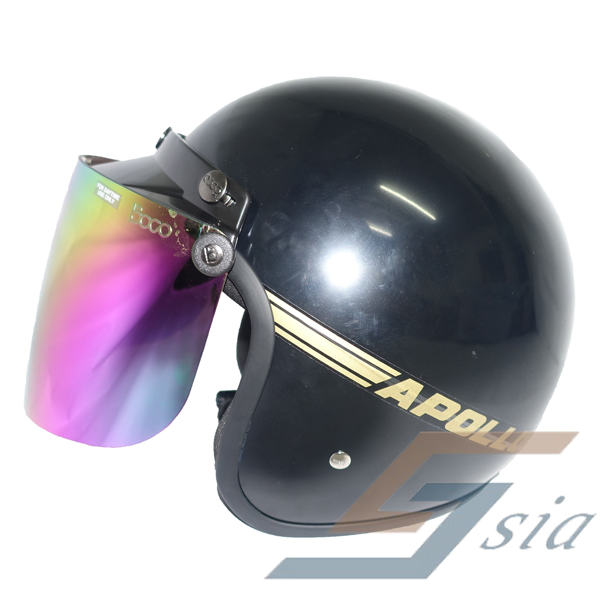 Apollo GS Helmet (Black) + BIKKO Visor (Iridium Rainbow)
