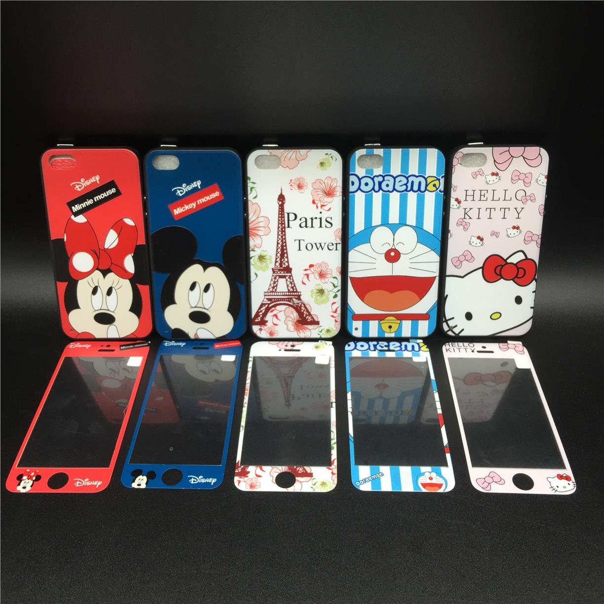 APPLE IPHONE 5 5S SE CARTOON CASE ~ FREE TEMPERED GLASS