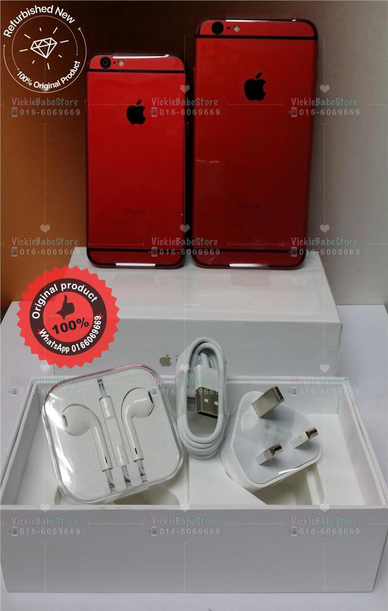Apple iPhone 6 Plus 64GB 128GB Limited Red Edition Ori Refurbished Set. ‹ › c2b5e218fcd4