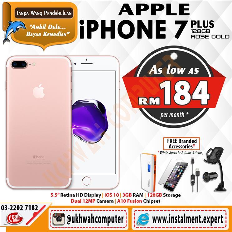 Apple iPhone 7 Plus 128GB Rose Gold Ansuran AEON Serendah RM184
