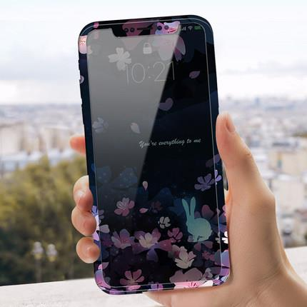 Apple iPhone X floral design phone protection case casing cover glass
