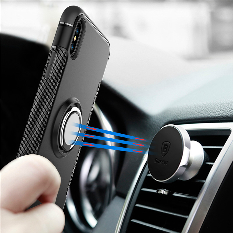 the best attitude c645f f2bb0 Apple IPhone X Magnetic Ring Armor Bumper Rugged Trendy Luxury Case Co