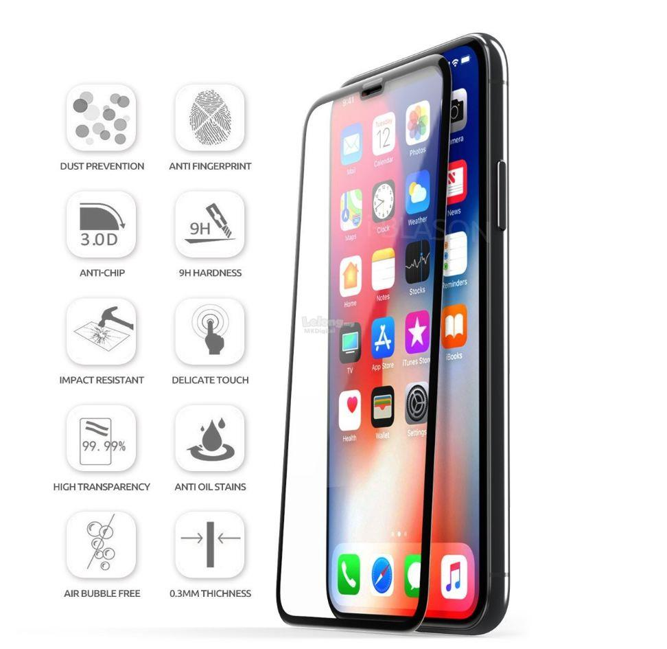 competitive price dc72a 49f82 Apple iPhone X XS 3D Full Cover Curved Tempered Glass Screen Protector