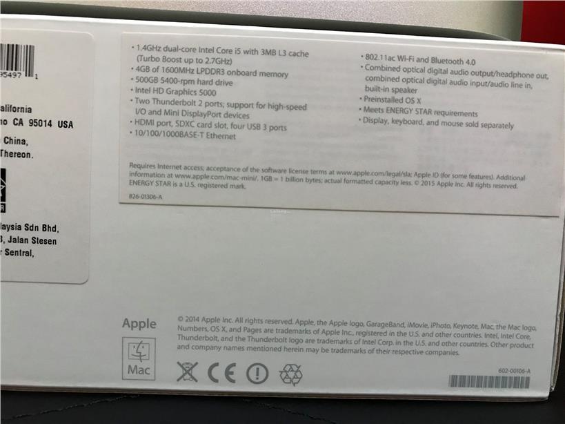 Used Apple Mac mini i5 1 4Ghz 4GB 500GB (2016)
