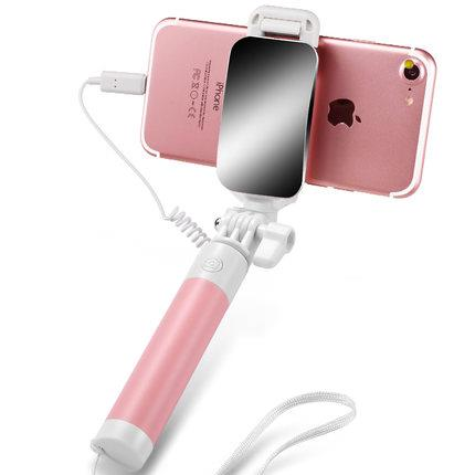 Apple mini selfie stick portable mobile phone camera with mirror