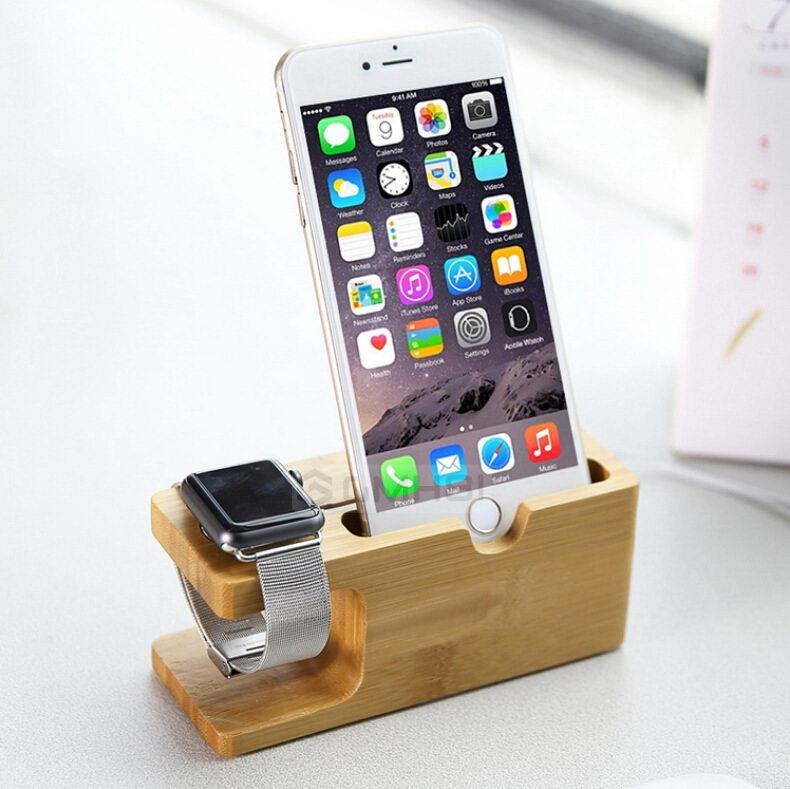 online retailer 98c35 aac1c Apple Watch 1 2 3 iPhone X 8 7 6s 6 Plus 5s 5 BAMBOO Stand Holder Dock