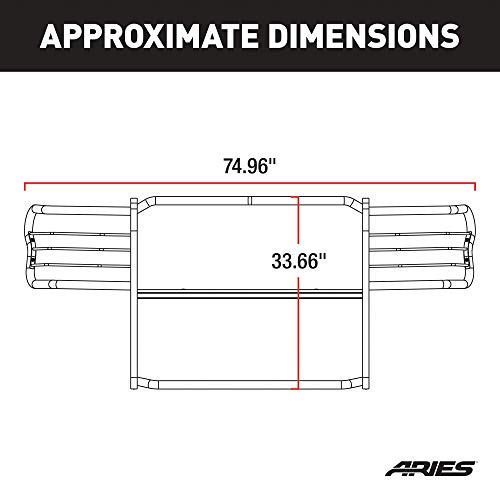 ARIES 2068 1-1//2-Inch Black Steel Grill Guard Select Toyota Tacoma
