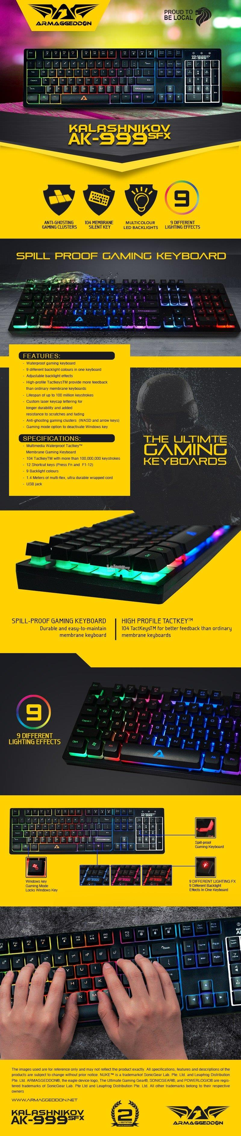 Armaggeddon AK-999 SFX Spill Proof Gaming Keyboard