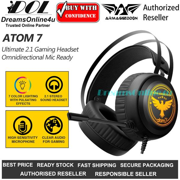 Armaggeddon Atom 7 Full Oval Ear Cover Stereo Ultimate Gaming Headset