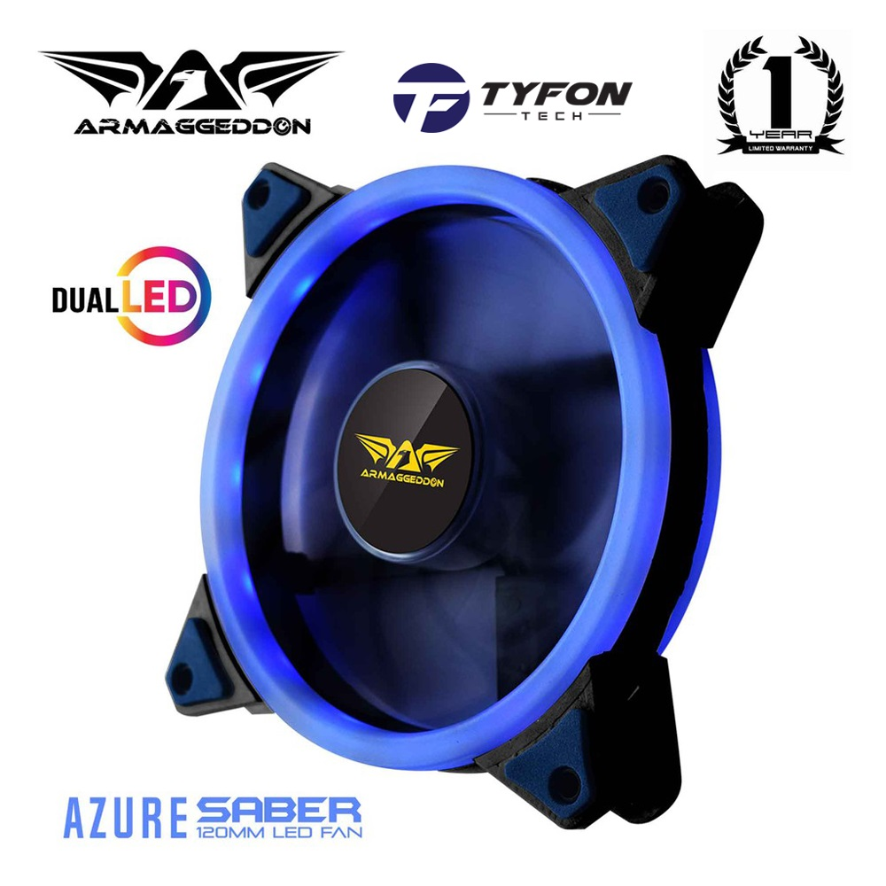 Armaggeddon Azure Dual Saber PC Cooling Fan for Gaming PC Case 120mm D