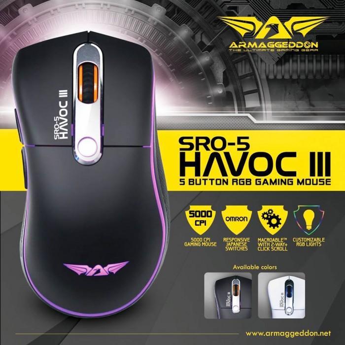 ARMAGGEDDON SRO-5 HAVOC III 5 Button RGB Gaming Mouse Genuine