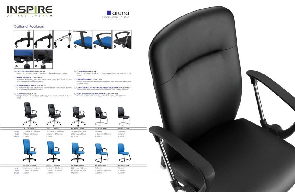 Arona Series P.U Leather Low Back Office Chair