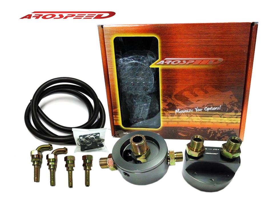 AROSPEED OIL RELOCATION KIT ADPT HONDA/MITSUBISHI (GUN METAL)