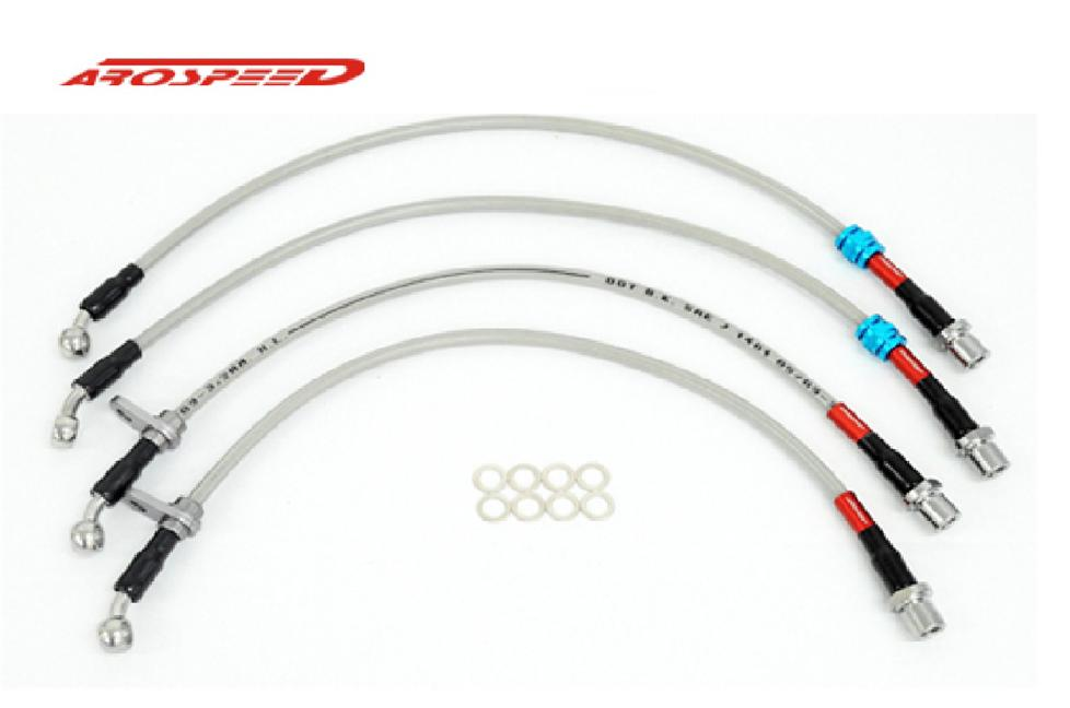 AROSPEED Steel Braided Brake Hose Honda Civic EK 4 Disc