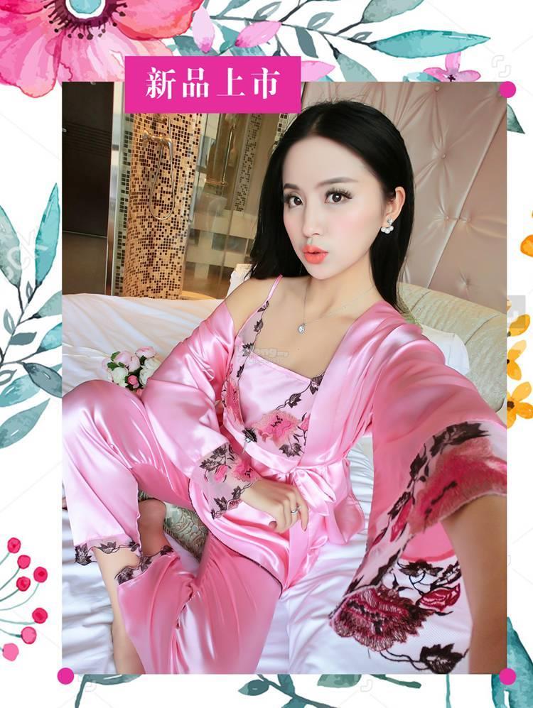 6c1a5465c2 New Arrival Plus Size Satin Robe Set Suit Floral With Long Pant S1027